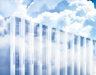 Image of clouds and server farm to depict LIMS software deployment in the Cloud, or Software as a Service (SaaS)