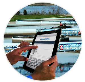 Wastewater laboratory using Sample Master iMobile on a tablet.